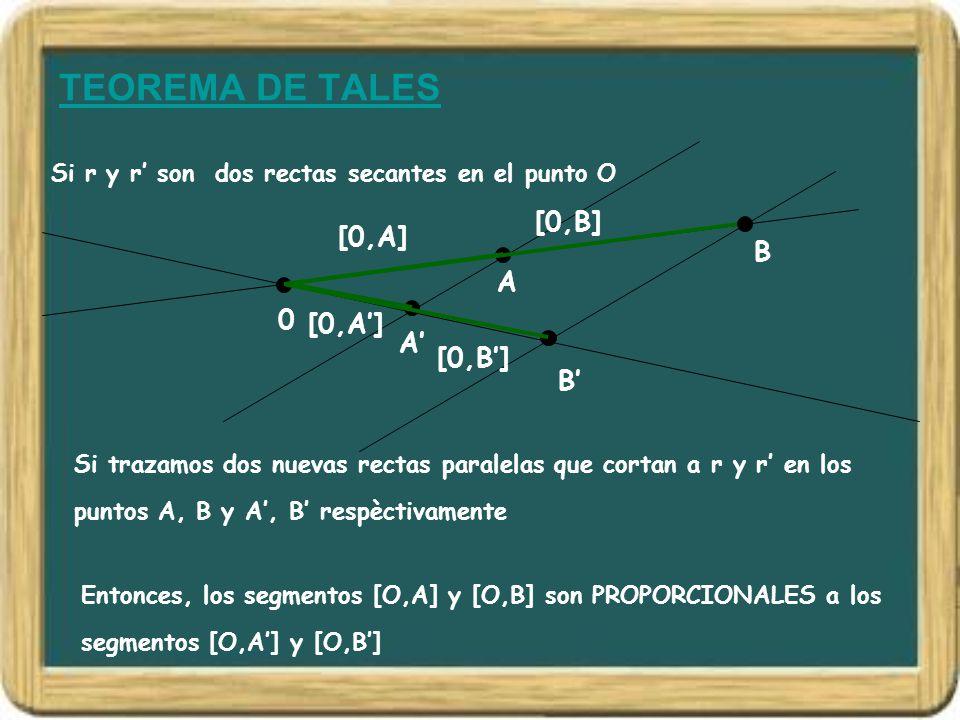 TEOREMA DE TALES [0,B] [0,A] B A [0,A'] A' [0,B'] B'